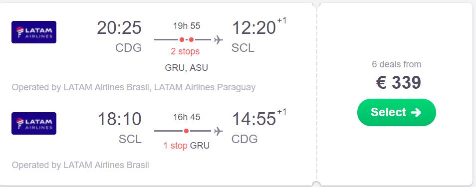 Chile-Europa por 167 euros/trayecto